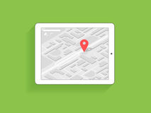 Tanlet pc with gps navigation. Tablet pc with mobile app for gps navigation. Illustration on green background Royalty Free Stock Photos