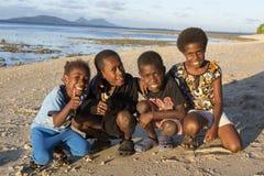 Tanna, Республика Вануату, 17-ое июля 2014, счастливый индигенный ch Стоковое Изображение
