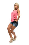 Tanned girl is dancing Stock Photos