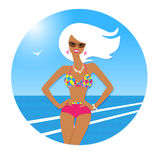 Tanned girl at the seaside Stock Photos