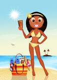 Tanned girl with suntan oil. Illustration on tanned girl with suntan oil Royalty Free Stock Images