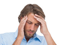 Tanned man having a headache Royalty Free Stock Photo