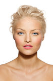 Tanned Model. With pink lipstick Stock Photos