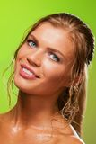 Tanned wet girl smiling Royalty Free Stock Photography