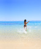 Tanned woman in bikini in the sea Royalty Free Stock Images