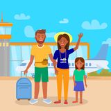 Mother and Daughter Stand in Front of Airplane. Tanned Young Family in Airport on Outdoor Area Background. Father, Mother and Daughter Stand in Front of vector illustration