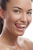 Tanned young girl smiling Royalty Free Stock Photo