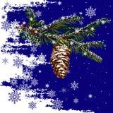 Tannen-Baum-Zweig mit Kegel lizenzfreie abbildung