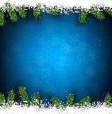 Tannen- und Schneeweihnachtsrahmen Stockfoto