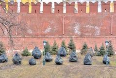Tannenbäume an der Wand vom Kreml nach einem Winter Stockfotos
