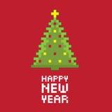 Tannenbaum des neuen Jahres des Pixels Stockbilder