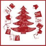 Tannenbaum mit Käufen Glückliches Einkaufenmädchen auf weißem Hintergrund Stockfotos