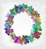 Tannenbaum-Vektorkartenhintergrund des neuen Jahres des Weihnachtskranzes bunter lizenzfreie abbildung