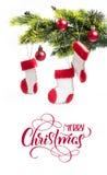 Tannenbaum verziert und Stiefel Santa Claus mit Text frohen Weihnachten Kalligraphiebeschriftung Lizenzfreie Stockfotos