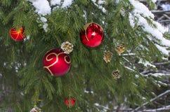 Tannenbaum-Weihnachten oben gekleidet durch Spielwaren Stockfotografie