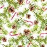 Tannenbaumaste, Zuckerstangen Nahtloses Muster für Design des neuen Jahres watercolor lizenzfreie abbildung