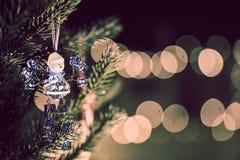 TANNENBAUMpostkarte des neuen Jahres und Weihnachts Stockfoto