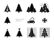 Tannenbaumsammlung guten Rutsch ins Neue Jahr des neuen Jahres! Vektor Abbildung