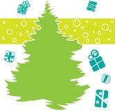 Tannenbaumschattenbild mit stilisierten Geschenken herum Sie können Design von Grußkarten, von Einladungen, von Saisonkarten, von lizenzfreie abbildung