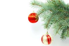 Tannenbaumzweig mit Weihnachtsdekorationen Lizenzfreies Stockfoto