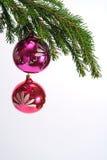 Tannenbaumzweig und Kugel mit zwei Rottönen Lizenzfreies Stockfoto