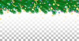 Tannenzweig, Girlande, Ausläufer und Sterne Feiertagsgrenze, transparenter Hintergrund vektor abbildung