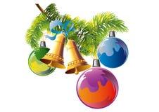Tannenzweig mit drei Weihnachtsbällen Lizenzfreies Stockbild