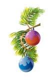 Tannenzweig mit Weihnachtskugeln Stockfotos