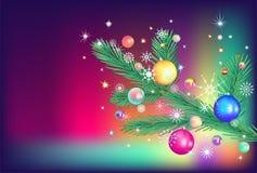 Tannenzweig- und Weihnachtsspielwaren Stockbild