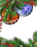 Tannenzweige und Weihnachtsdekorationen Stockfotografie