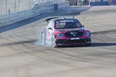 Tanner Foust 34, drives a Volkswagen Beetle car, during the Red Royalty Free Stock Image