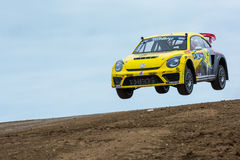 Tanner Foust rally driver jumps Stock Photography