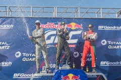 Tanner Foust, Scott Speed, Patrik Sandell during the Red Bull GR. San Pedro, CA - October 14, 2017: Tanner Foust, Scott Speed, Patrik Sandell during the Red Bull Stock Images