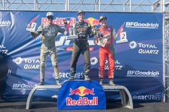Tanner Foust, Scott Speed, Patrik Sandell during the Red Bull GR. San Pedro, CA - October 14, 2017: Tanner Foust, Scott Speed, Patrik Sandell during the Red Bull Stock Photography