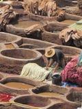 Tannerie à Fez Maroc Image libre de droits