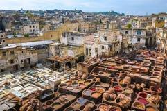 Tannerie à Fez, Maroc Image libre de droits