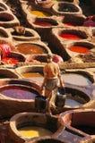 Tannerie à Fez, Morroco Image stock