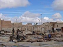 Tannerie à Marrakech Maroc photos stock