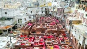 Tannerie de Fes, Marocco image libre de droits
