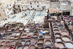 Tanneries av Fes, Marocco Arkivbild