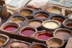 Tanneries de Fes, Marrocos, África fotografia de stock