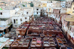 Tanneries Of Fes Stock Photo