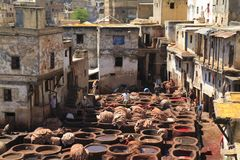 Tanneries in Fes Stock Photos