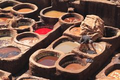 Tanneries in Fes Royalty Free Stock Photography