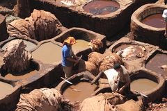 Tanneries in Fes. Leather tanneries in Fes, Morocco Stock Photo