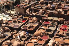 Tanneries in Fes Stock Image