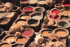 Tanneries in Fes Stock Images