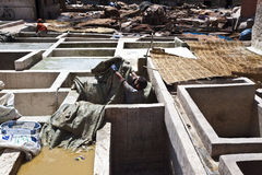 Tanneries in the old medina of Marrakesh Royalty Free Stock Photography