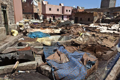 Tanneries in the old medina of Marrakesh Royalty Free Stock Images