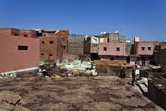 Tanneries in the old medina of Marrakesh Stock Photo